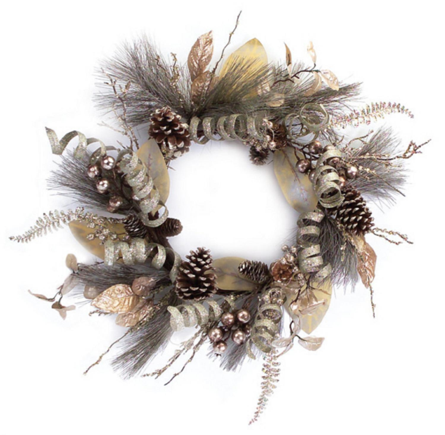 "Melrose 24"" Unlit Silver Ribbon Brown Berry and Pine Cone Artificial Christmas Wreath"