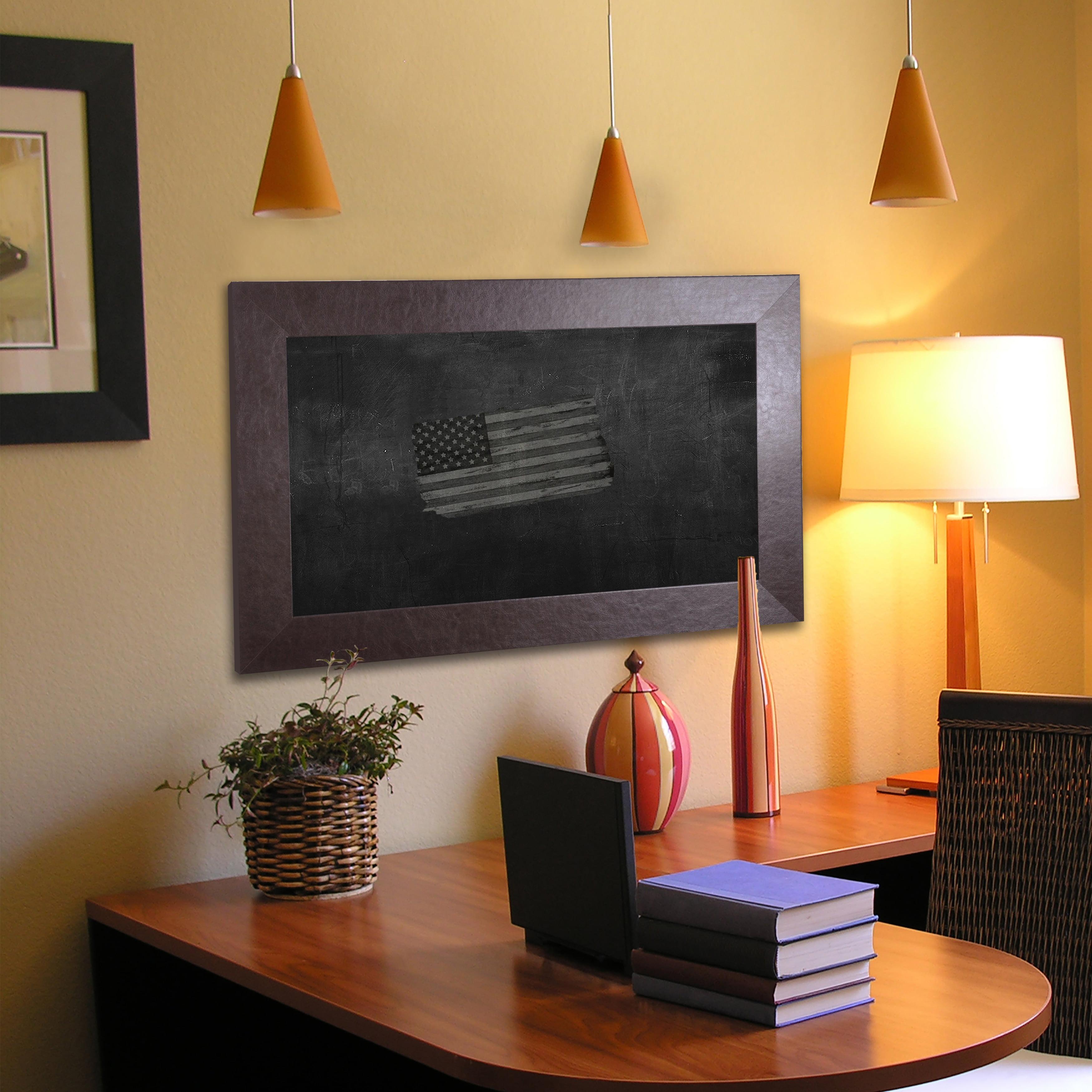 Rayne Mirrors American Made Rayne Wide Brown Leather Blackboard/Chalkboard