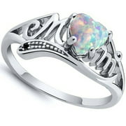 925 Sterling Silver Fire Opal MOM Character Diamond Ring