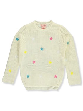 Pink Angels Girls' Star Embroidered Sweater - gray, 3t