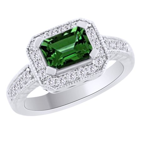 (1.55 cttw) Simulated Green Emerald & White Natural Diamond Halo Engagement Ring In 14K Solid White Gold With, Ring Size 4 Ct Tw Diamond Emerald Ring