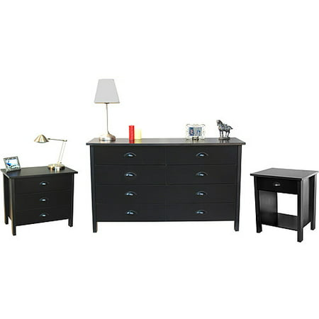 Nouvelle Dresser Chest And Nightstand Set Black