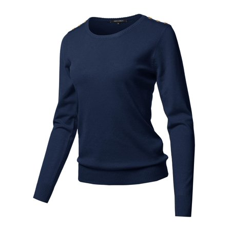 FashionOutfit Women's Solid Button Detailed Round Neck Viscose Knit Sweater Top