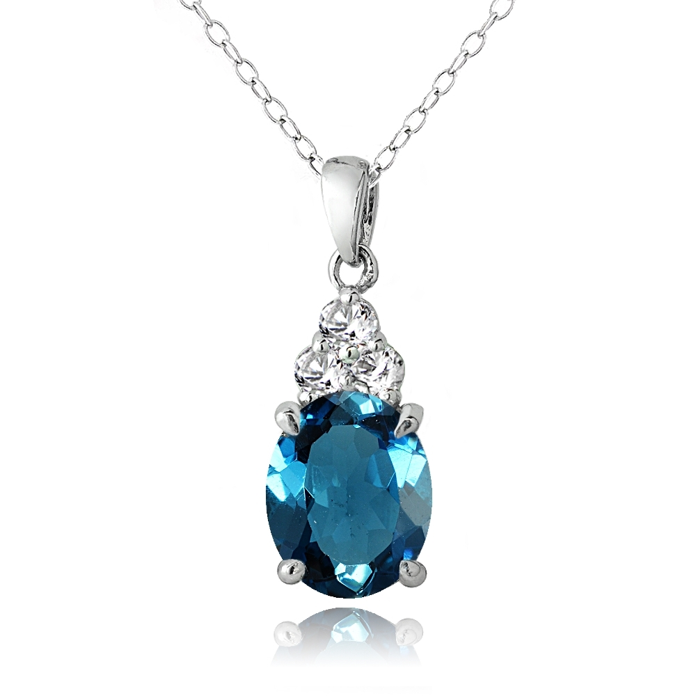 Sterling Silver 2.9ct London Blue and White Topaz Oval Necklace by
