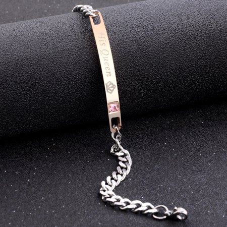 Simple Women Men Chain Fashion Crystal Letter Couple Bracelet for Hands Jewelry Gift Rose gold His
