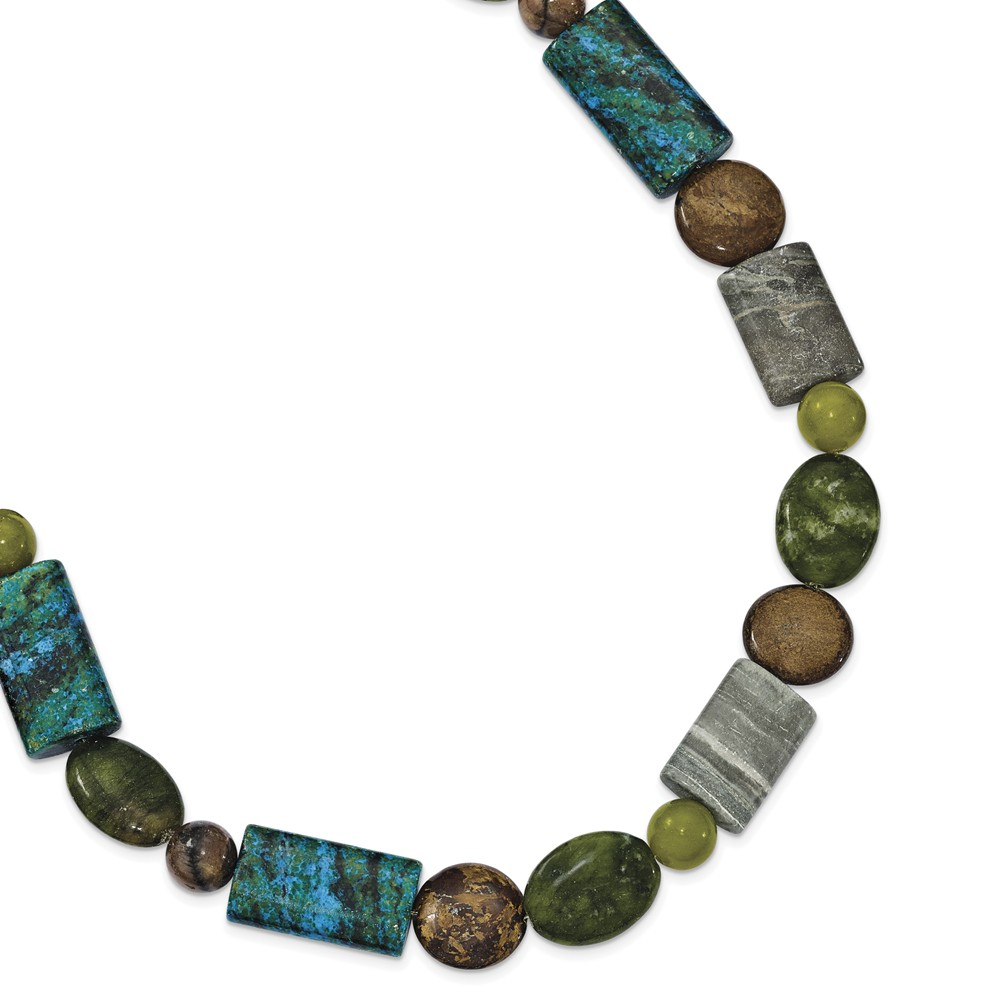 Sterling Silver 16in Bronzite/Jasper/Stabilized Chrysocolla Necklace
