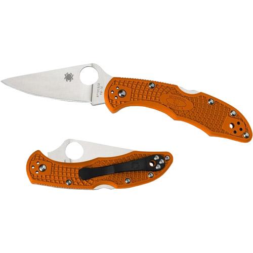 Spyderco Delica4 Orange Full-Flat Ground FRN Folding Knife, Plain Edge