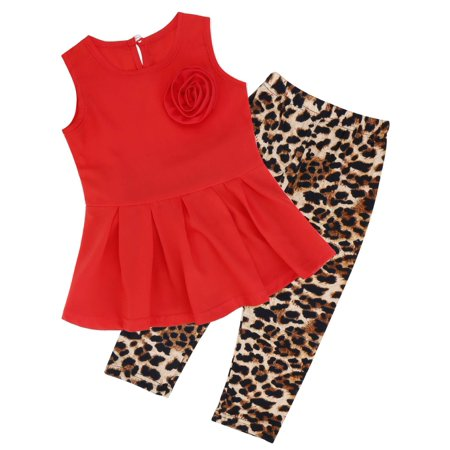 Dailydeal Girls Outfit Sets, Summer Clothing Sets Girl kids Clothes Waist Pleated Dress +Pants