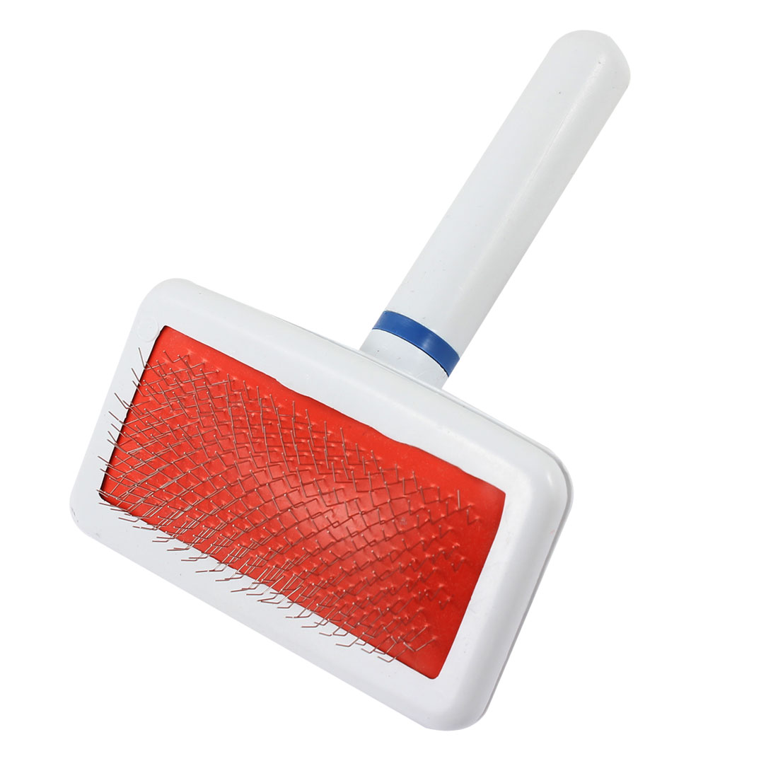 Unique Bargains Pet Dog Cat Metal Wire Grooming Brush White Red