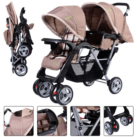 Baby Jogger Twin Stroller - Foldable Twin Baby Double Stroller Kids Jogger Travel Infant Pushchair Gray