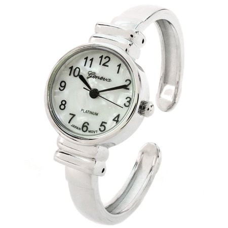 White Silver Metal Band Small Size Bangle Cuff Watch for Women