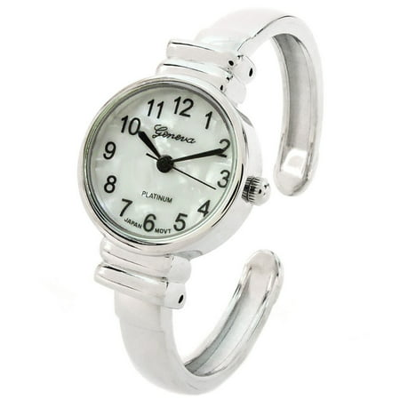 White Silver Metal Band Small Size Bangle Cuff Watch for Women ()