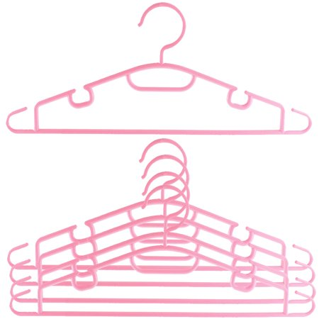 5pcs Plastic Space Saving Non-Slip Household Clothes Clothing Hanger - Pink Sayings