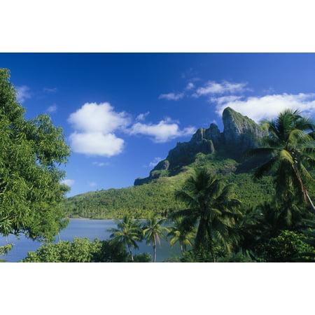 French Polynesia Bora Bora Coastal Shot Mountains With Water A56A Canvas Art - Peter Stone Design Pics (38 x 24)