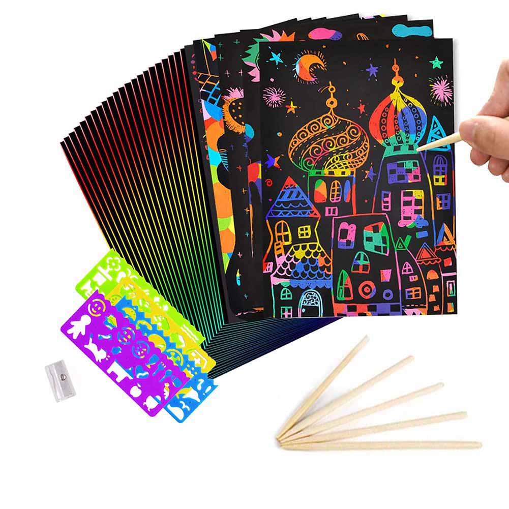 RUIYIQI 55 PCS Scratch Paper for Kids Rainbow Scratch Art Sheet Set Include Million Flower Ruler Drawing Stencils and Stylus for DIY Creative Painting 210 x 280mm