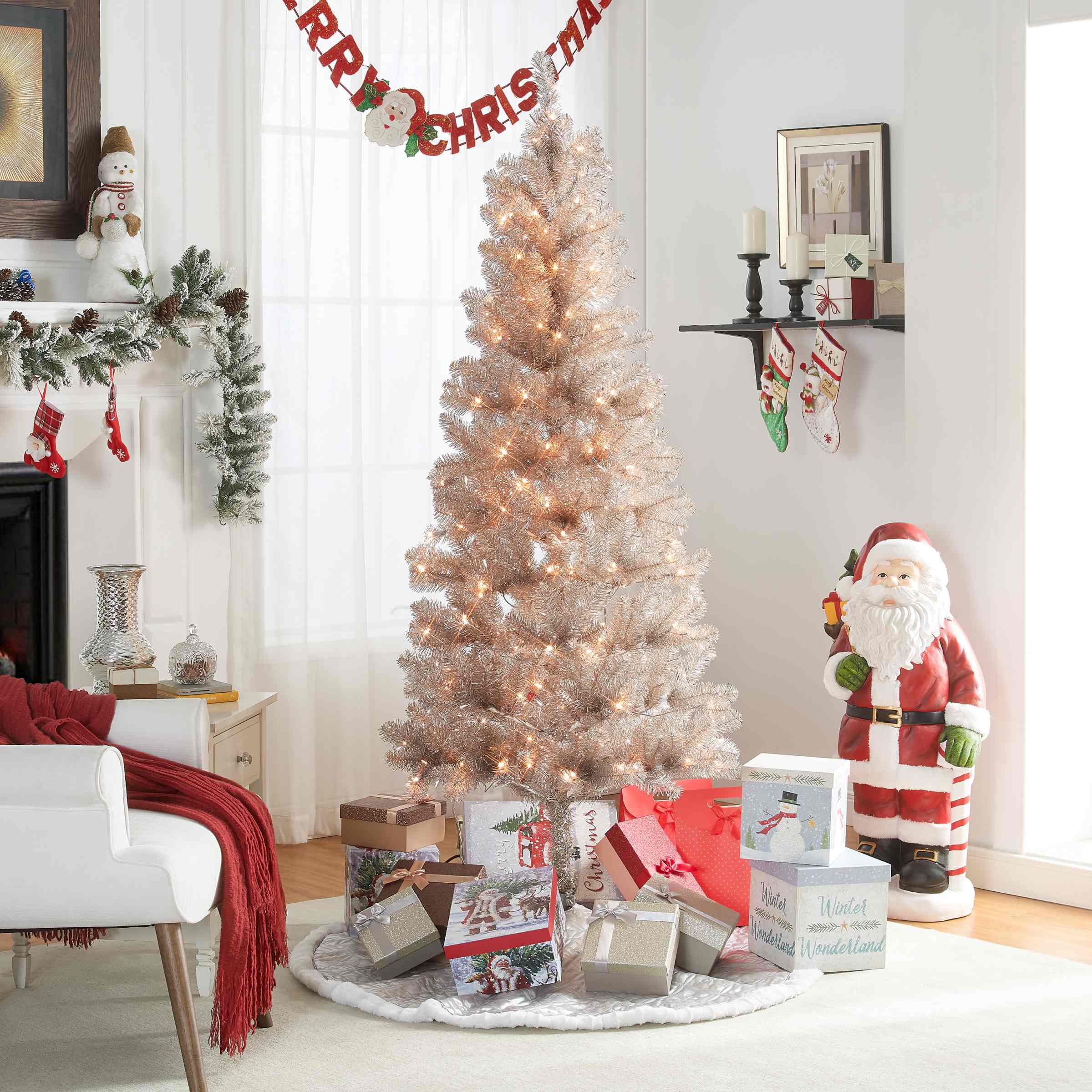 Holiday Time 6 5 Ft Tinsel Rose Gold Tree 200 Lights With Metal Tree Stand