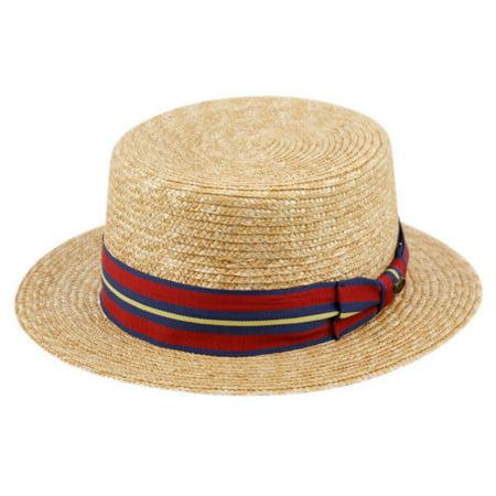 Classic Straw Fedora Boater Hat w/ Black or Striped Band - Striped Fedora