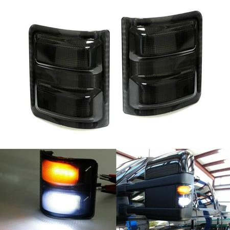 iJDMTOY (2) Smoked Lens White/Amber LED Side Mirror Marker Lights Set For 2008-2016 Ford F-250 F-350 F-450 F-550 Super Duty (White-Parking Light, Amber-Blinker Turn Signal) Turn Signal Visor Set