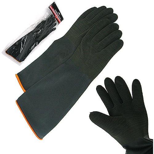 Stalwart Heavy Rubber Crinkle Gloves, Black
