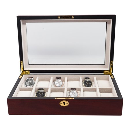 12 Piece Cherry Rosewood Wood Men's Watch Box Display Case Collection Jewelry Box Storage Glass Top ()