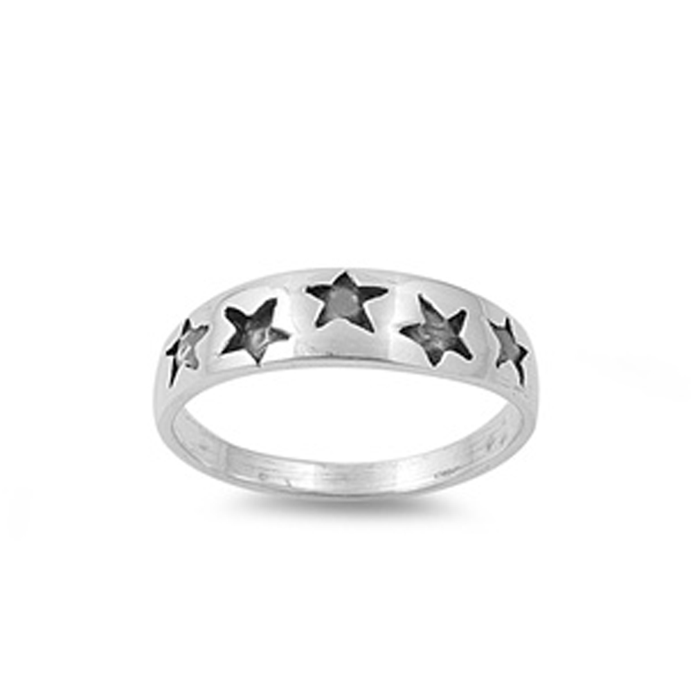 Sterling Silver Baby Ring ( Sizes 1 2 3 4 5 6 7 8 9 10 ) w/ Stars Children Kid Band 925 New Rings by Sac Silver (Size 4)
