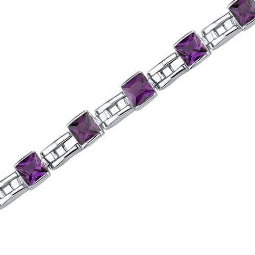 Oravo Charming Style Princess Cut Gemstone Bracelet in Sterling Silver