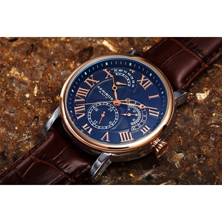 Akribos XXIV Men's Multifunction Date Watch - Blue/Rose Gold Guilloche Dial - Brown Alligator Embossed Genuine Leather Strap - AK1003 Date Brown Leather