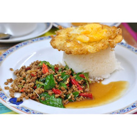Fried Rice Dishes (Peel-n-Stick Poster of The Pork Fried Rice Made Dish Thailand Food Poster 24x16 Adhesive Sticker Poster Print )