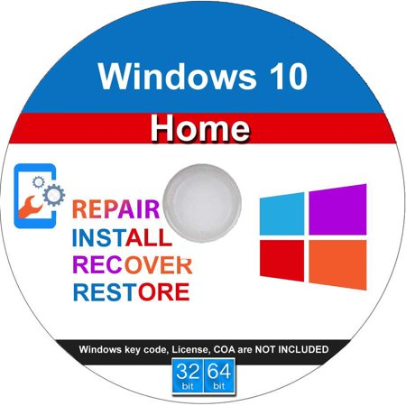 Windows 10 Home 32/64 Bit Install, Repair, Recover & Restore