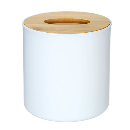 Modern Tissue Box Napkin Case Tissues Paper Roll Holder with Natural Bamboo Cover Plate Round