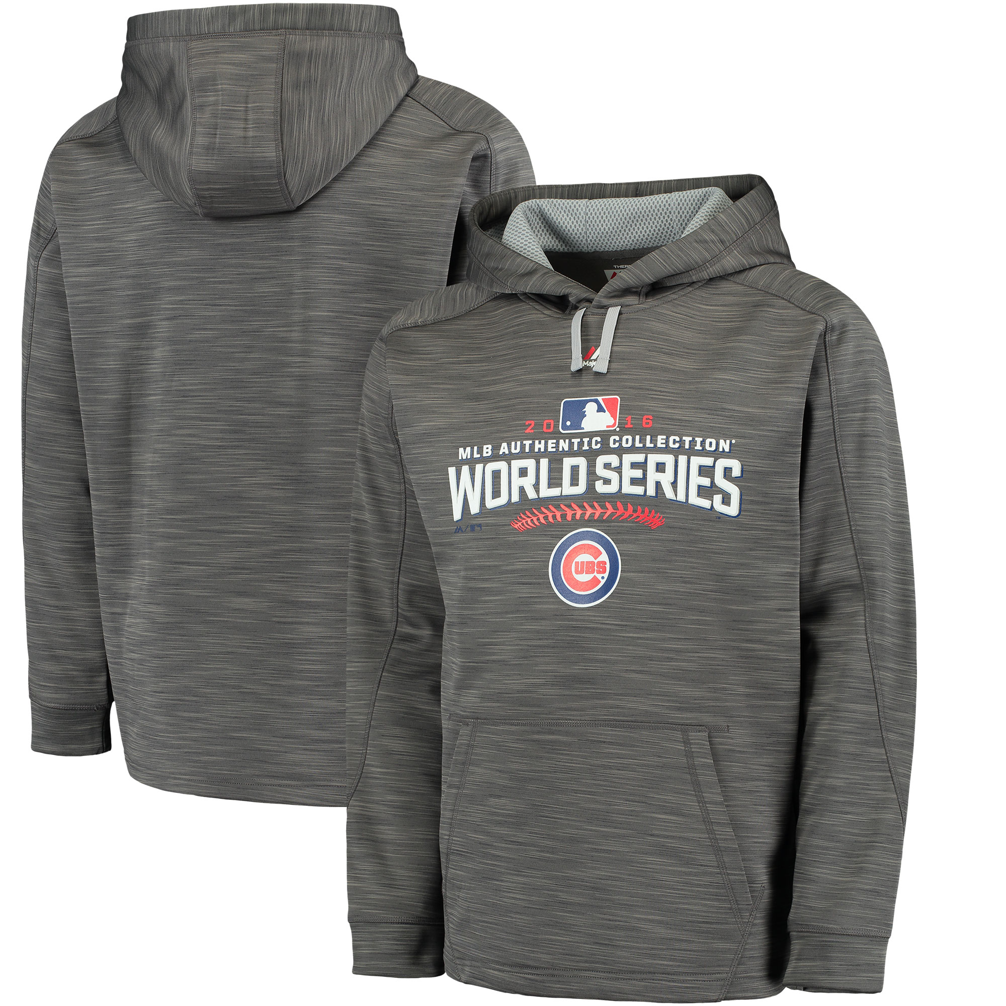 Chicago Cubs MLB Majestic Men's Gray 2016 World Series Authentic Therma Base Hoodie