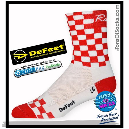 DeFeet Checkmate Performance Socks (Red & White) (FINAL SALE) Defeet White Cycling Socks