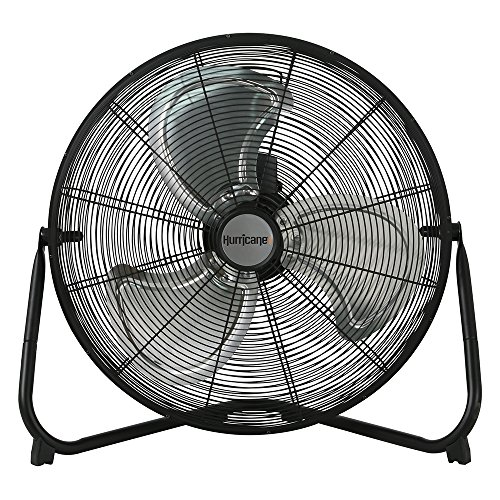 Hurricane Floor Fan - 20 Inch   Pro Series   High Velocity   Heavy Duty Metal Floor Fan for Industrial, Commercial, Residential, and Greenhouse Use - ETL Listed, Black