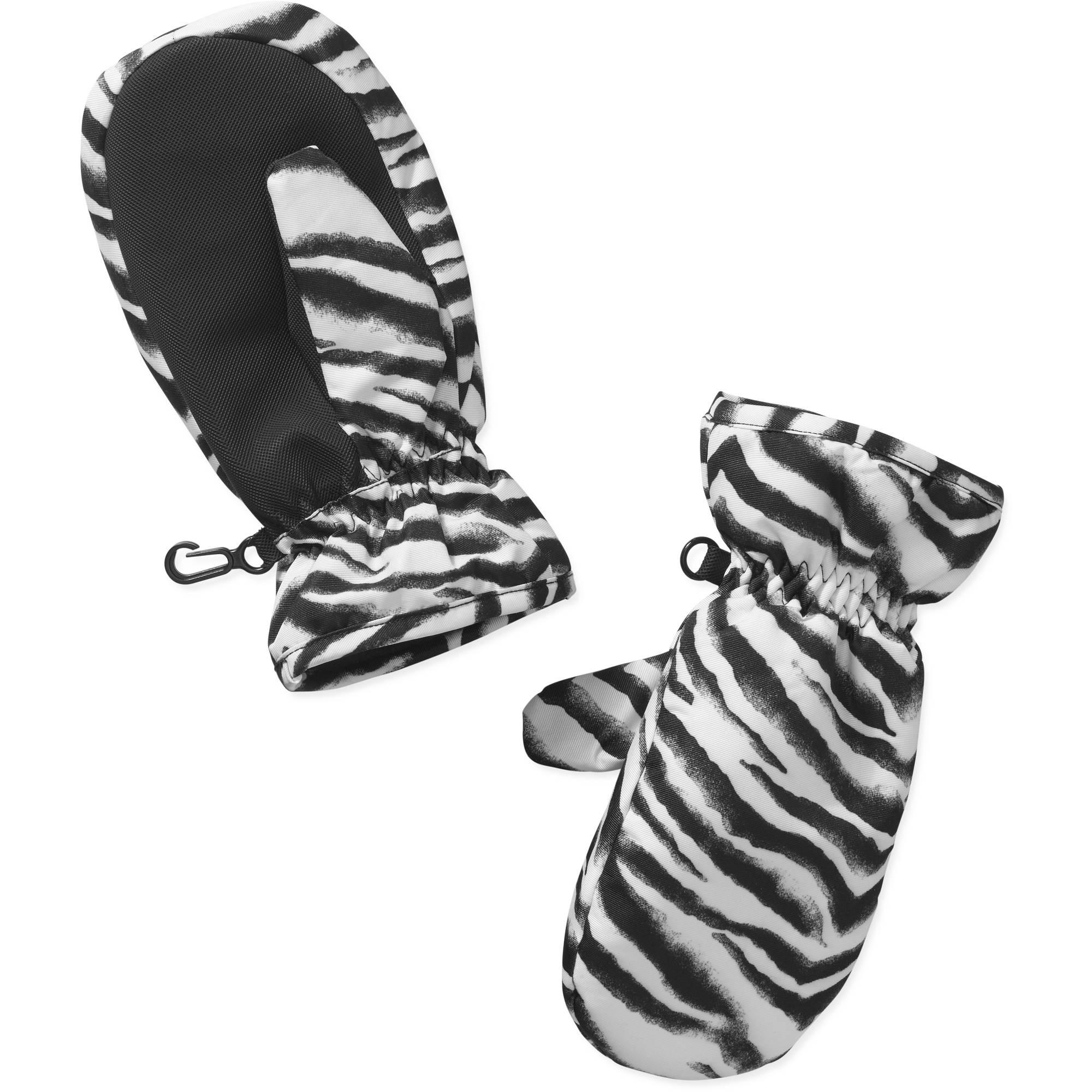 Girls Swiss Tech Zebra Print Mittens