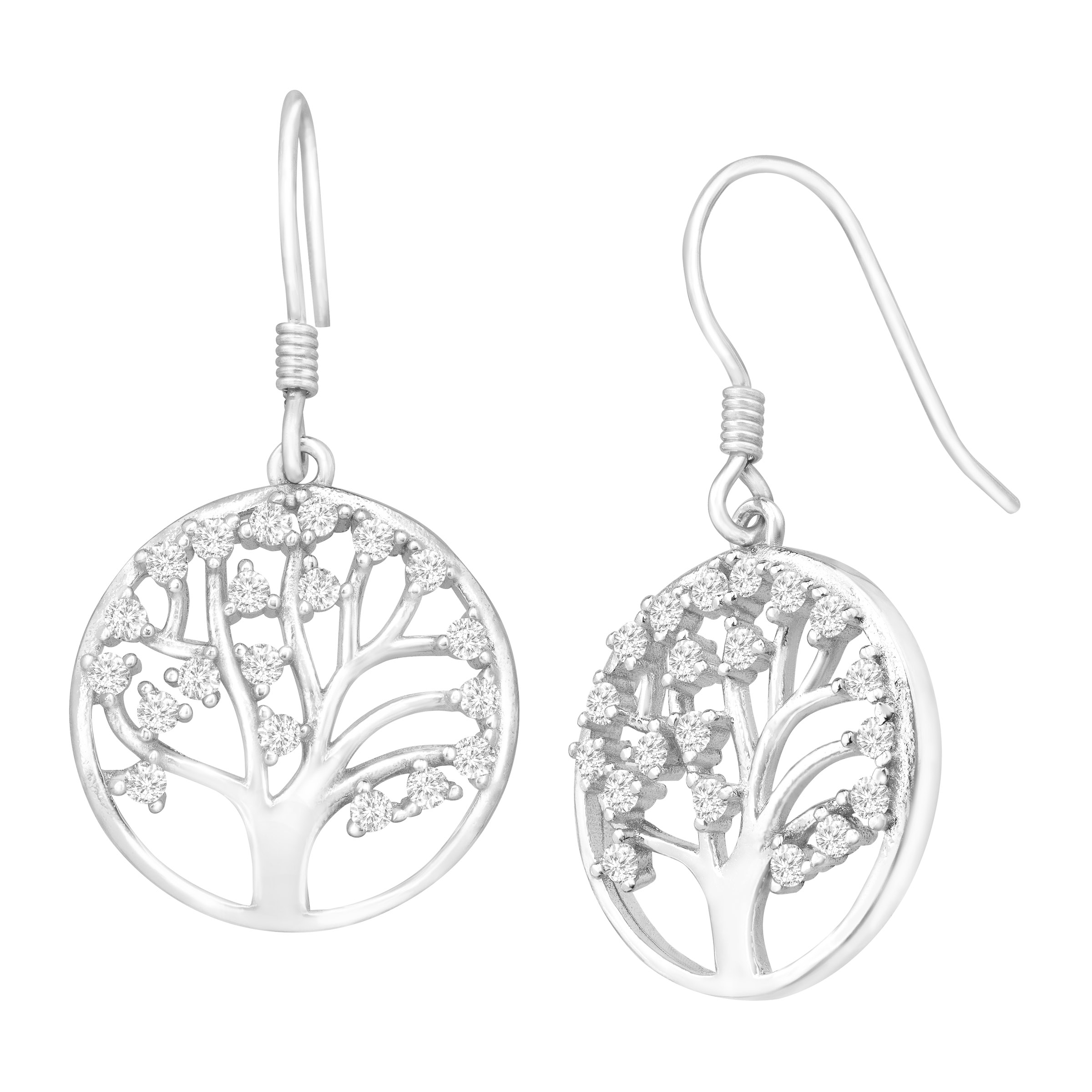 Tree of Love Drop Earrings with Cubic Zirconia in Sterling Silver