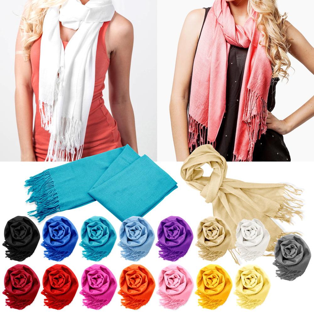 Fashion Luxury Lady Women's Classic Long Range Pashmina Silk Solid colors Scarf Wraps Shawl Stole Soft Scarves