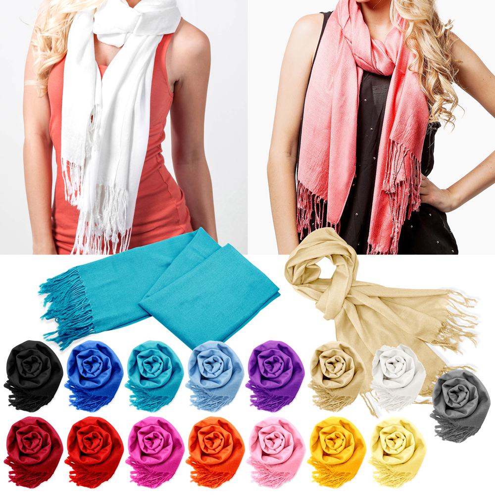 Fashion Lady Women's Classic Long Range Pashmina Silk Solid colors Scarf Wraps Shawl Stole Soft Scarves