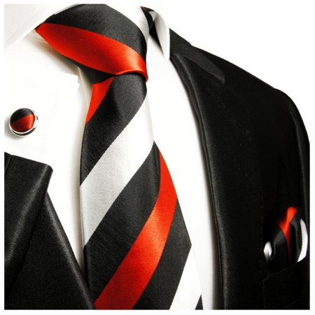 Circle Silk Tie - Extra Long Red, Black and Silver Striped Paul Malone Silk Tie with Accessories