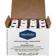 AmeriColor, Student Kit , 12 .75 Ounce Food Color Bottles, Soft Gel Paste