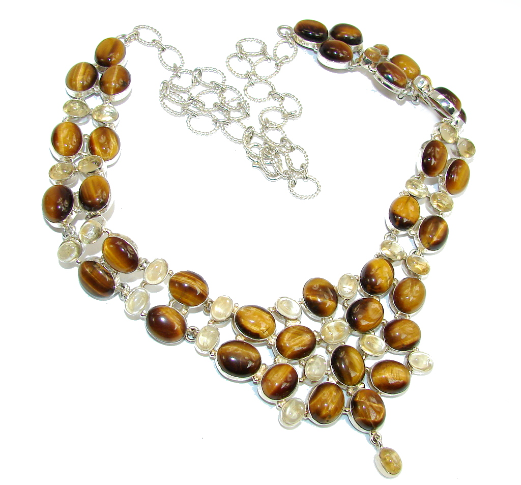 Perfect Gift AAA Tigers Eye & Citrine Sterling Silver Necklace by SilverRush Style by