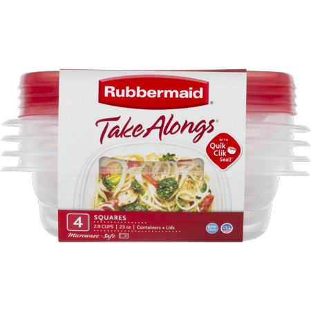Rubbermaid TakeAlongs Food Storage Containers, 2.9 Cup, 4-Pack](Sandwich Platter Containers)