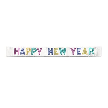 Image of Metallic Happy New Year Banner - White with Silver Glittered Assorted Color Letters #CM453 - CASE OF 6