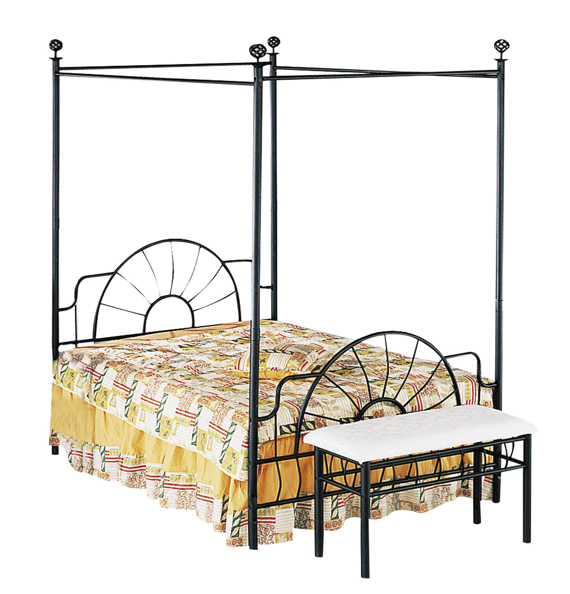 Acme Sunburst Full Canopy Bed, Rails not Included, Sandy Black by Acme Furniture