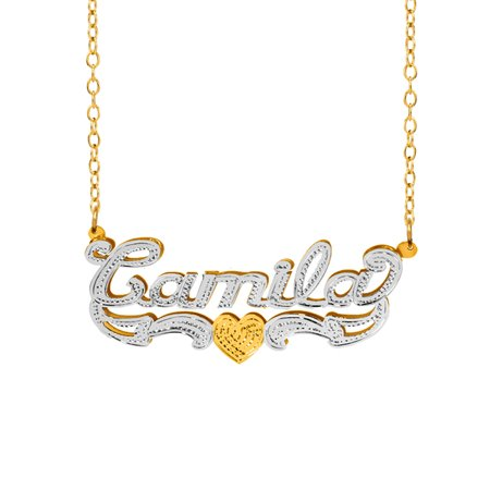 Personalized Sterling Silver or 14K Gold Plated Double Name Necklace w/Beading and Rhodium on Name and Tail 18