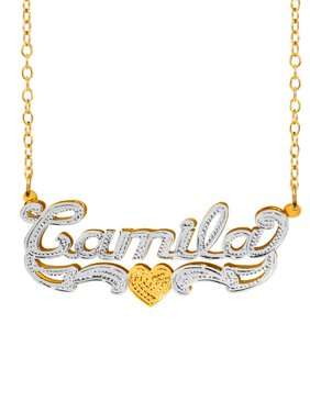 69a879ff51931 Product Image Personalized Sterling Silver or 14K Gold Plated Double Name  Necklace w/Beading and Rhodium on. Product TitleJay-Aimee ...