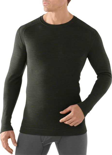 Smartwool Midweight Crew Men's Long Sleeve Base Layer Top Olive Heather LG by SmartWool