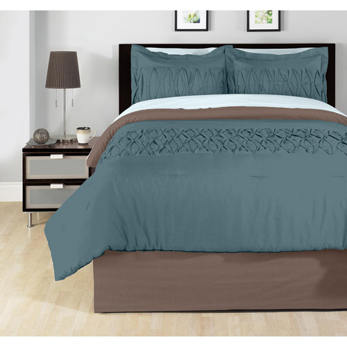 Solid Pleated Bedding Comforter Set
