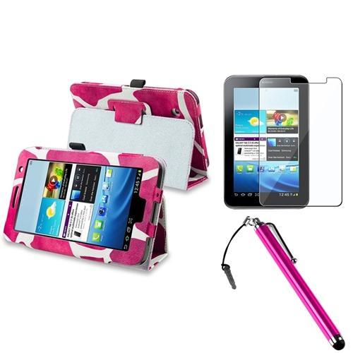 INSTEN Pink Giraffe Folio PU Leather Case Cover Skin Stand For Samsung Galaxy Tab 2 7.0 P3100 Tablet