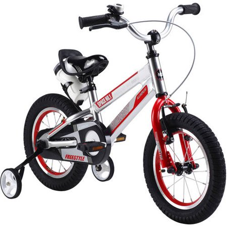 RoyalBaby Space No. 1 Aluminum Kid's Bike with training wheels, for boys or girls, Perfect gift for kids, 18 inch wheels, Silver