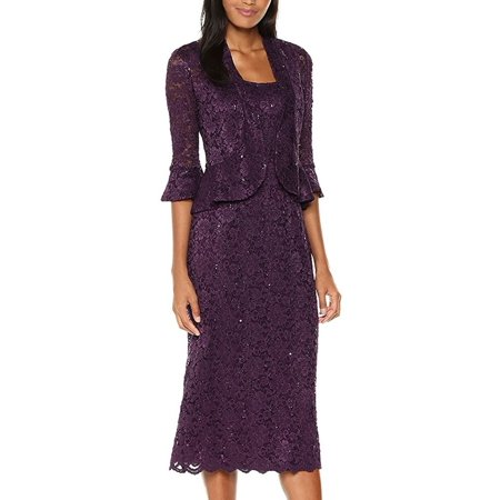 RM Richards Women's Sequin Lace Midi Dress With Jacket - Mother of The Bride Wedding Dresses (Plumb Dress)